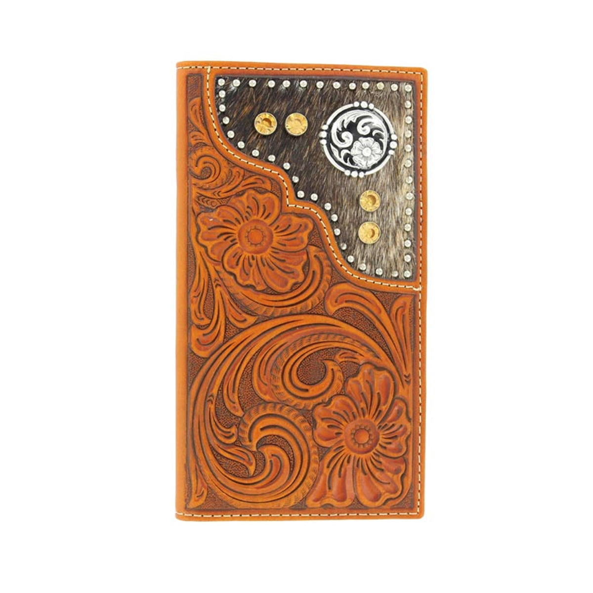 Nocona Men's Floral Tooled Rodeo Wallet Checkbook Cover