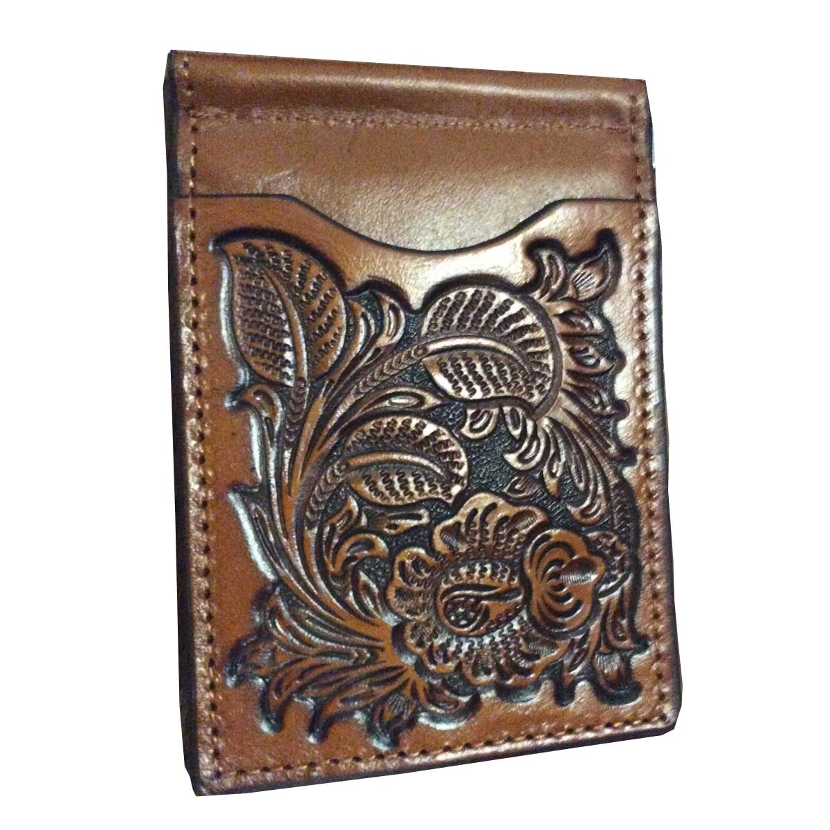M & F Western Nocona Floral Embossed Bi-Fold Wallet with Money Clip
