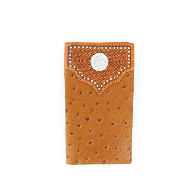 M & F Western Nocona Men's Ostrich Rodeo Wallet - Tan