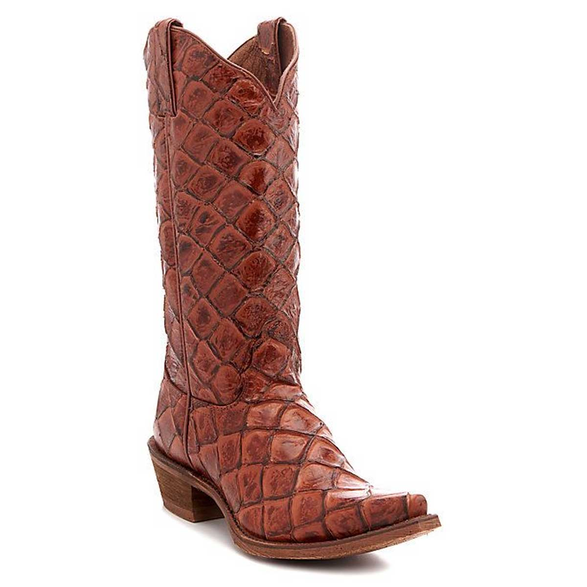 Tony Lama Bessie Women's Exotic Fish Scale Print Cowgirl Boots - Cognac
