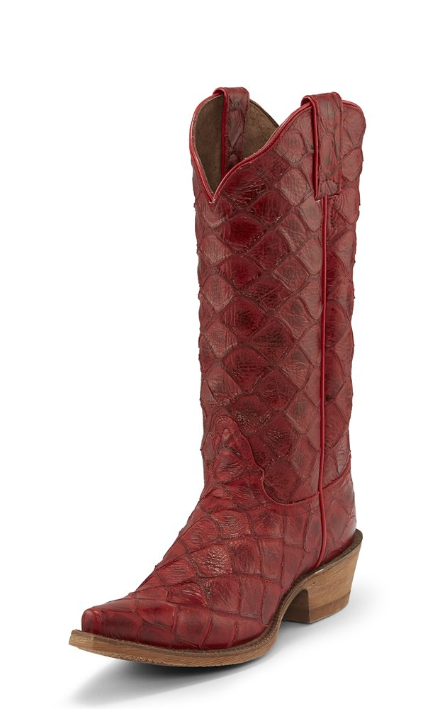 Nocona Bessie Red Fish Print Snip Toe Riding Heel Boot