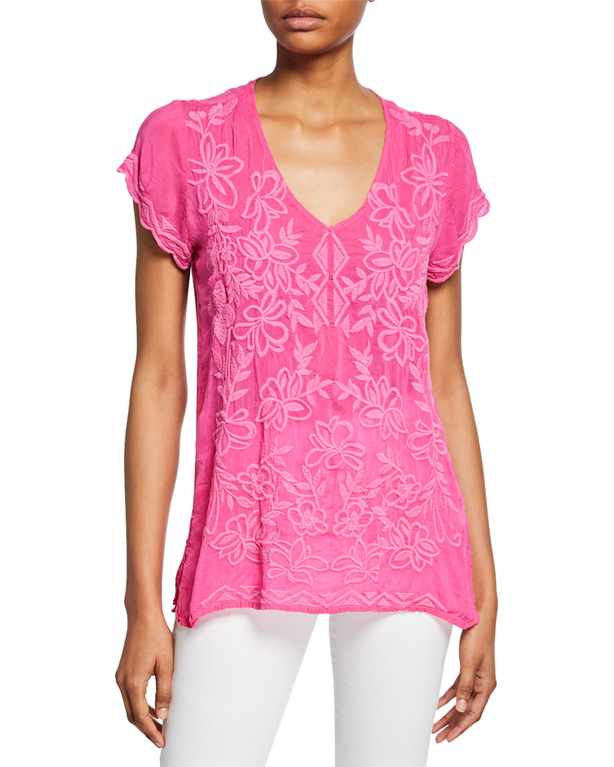Johnny Was Pink/Fuchsia Burke Cap Sleeve Top
