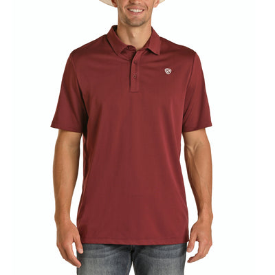 Panhandle Men's Casual Polo Short Sleeve Shirt - Burgundy
