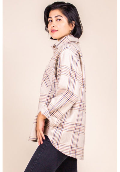 Blush and Plaid Oversized Flannel Vintage Shirt