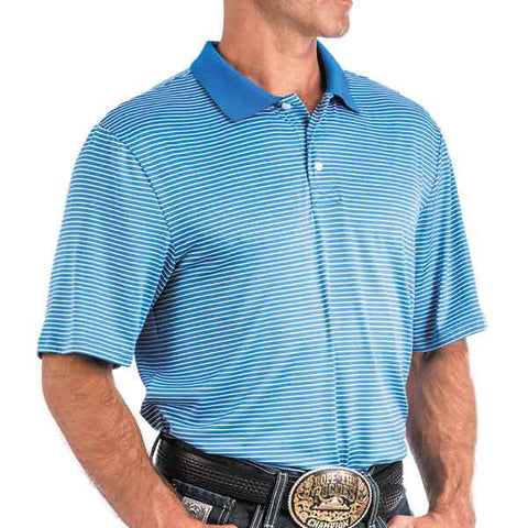 Arenaflex Blue Striped Polo Shirt By Cinch