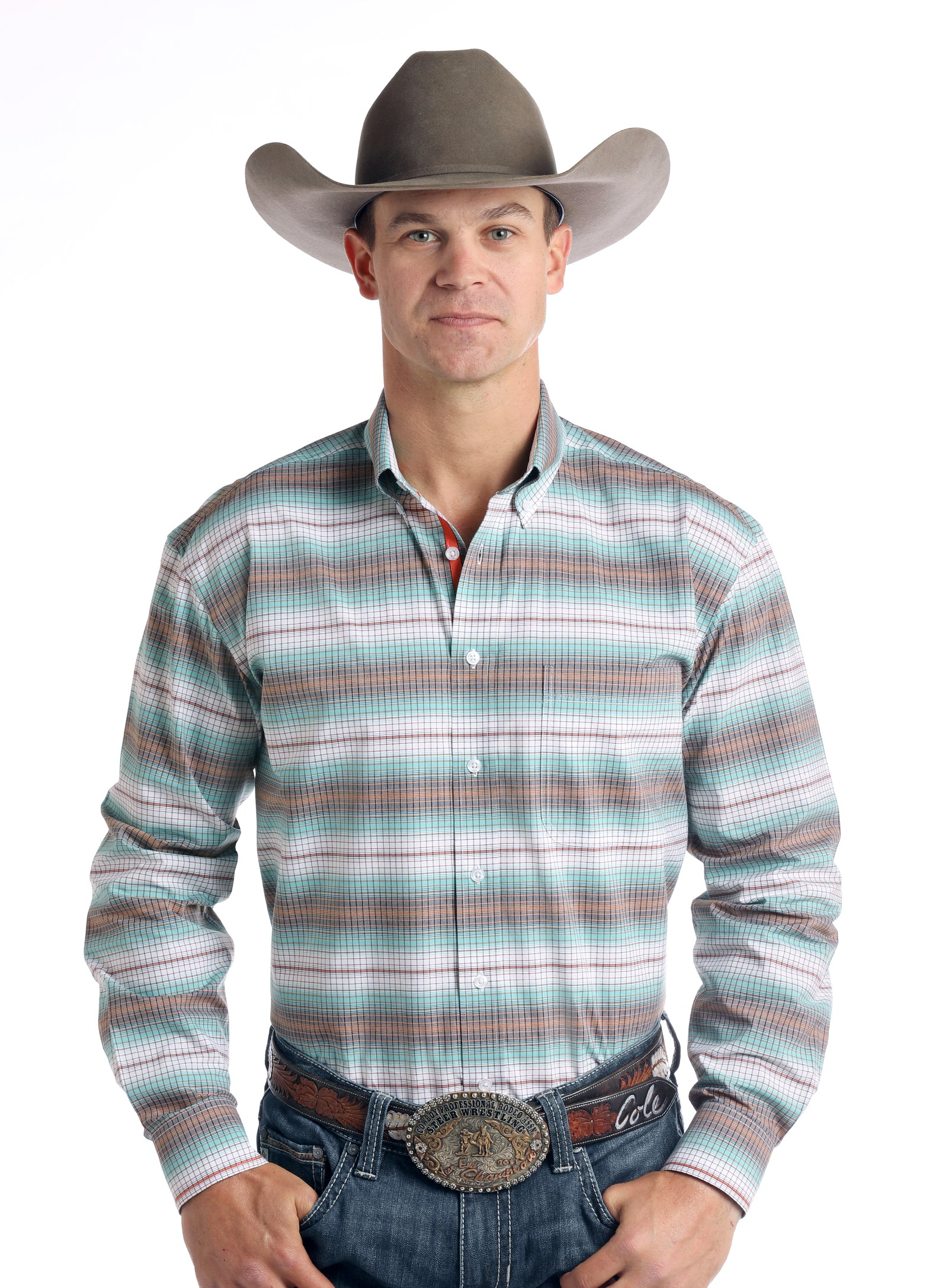 Panhandle Plaid Long Sleeve Men's Button Down Shirt