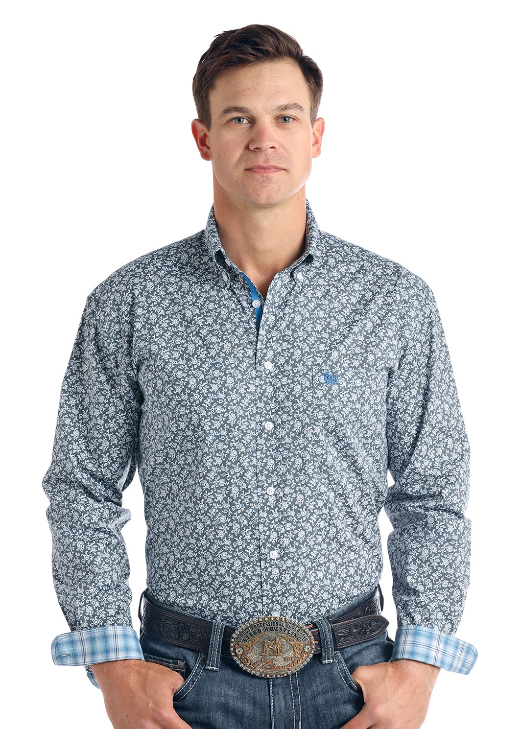 Panhandle Langunita Vintage Print Men's Button Down Shirt