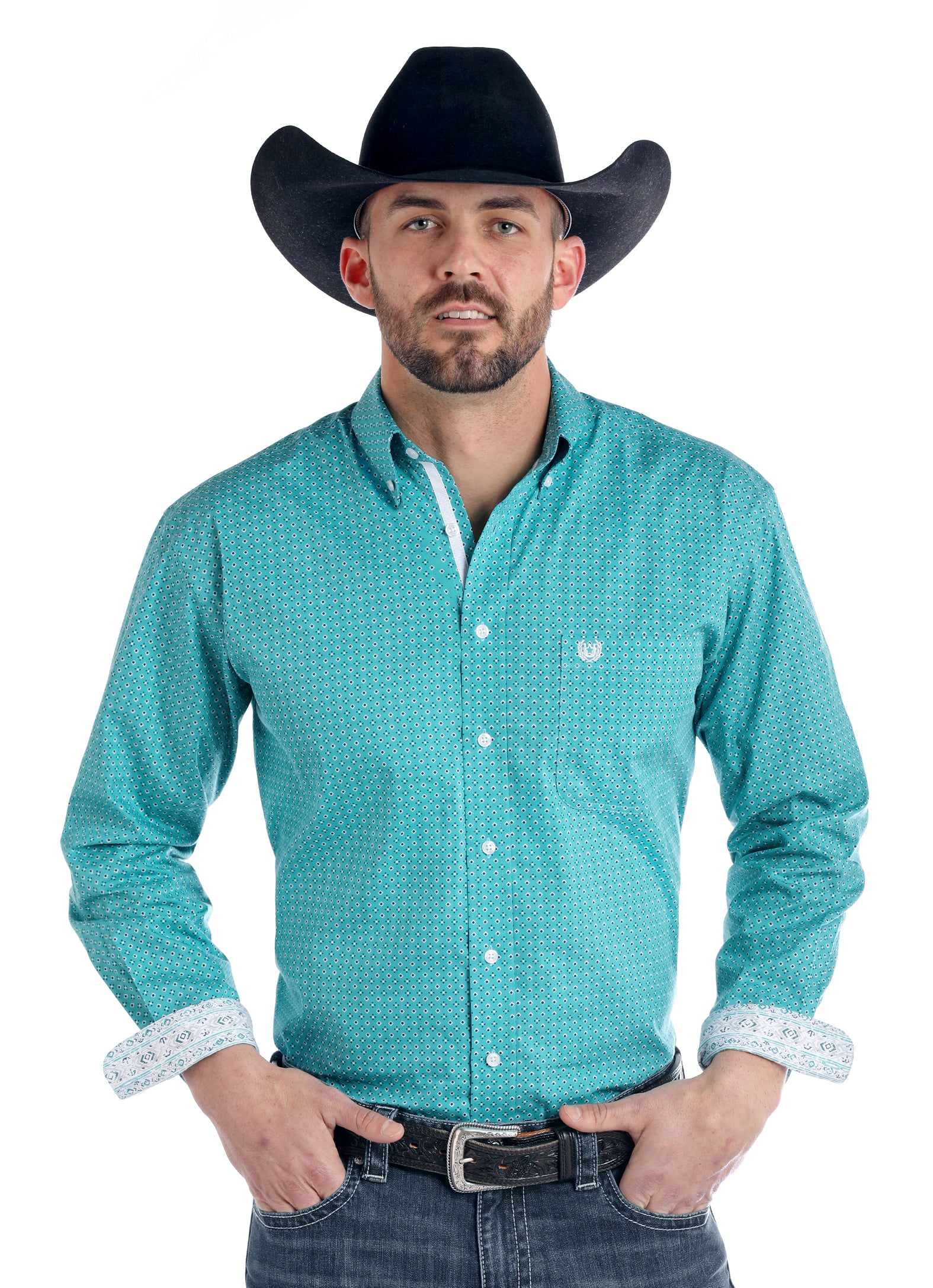 Panhandle Teal Rough Stock Men's Button Down Shirt