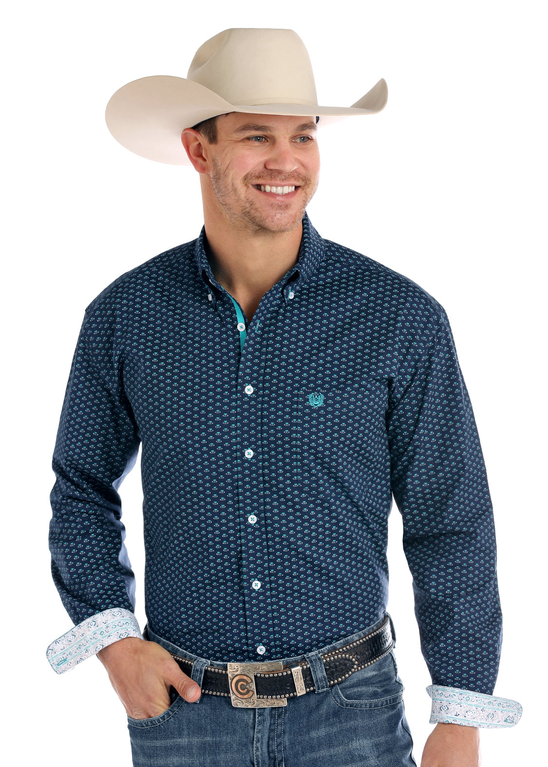 Panhandle Navy Print Men's Button Down