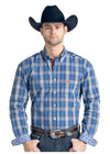 Panhandle Holbrook Blue Vintage Plaid Men's Button Down