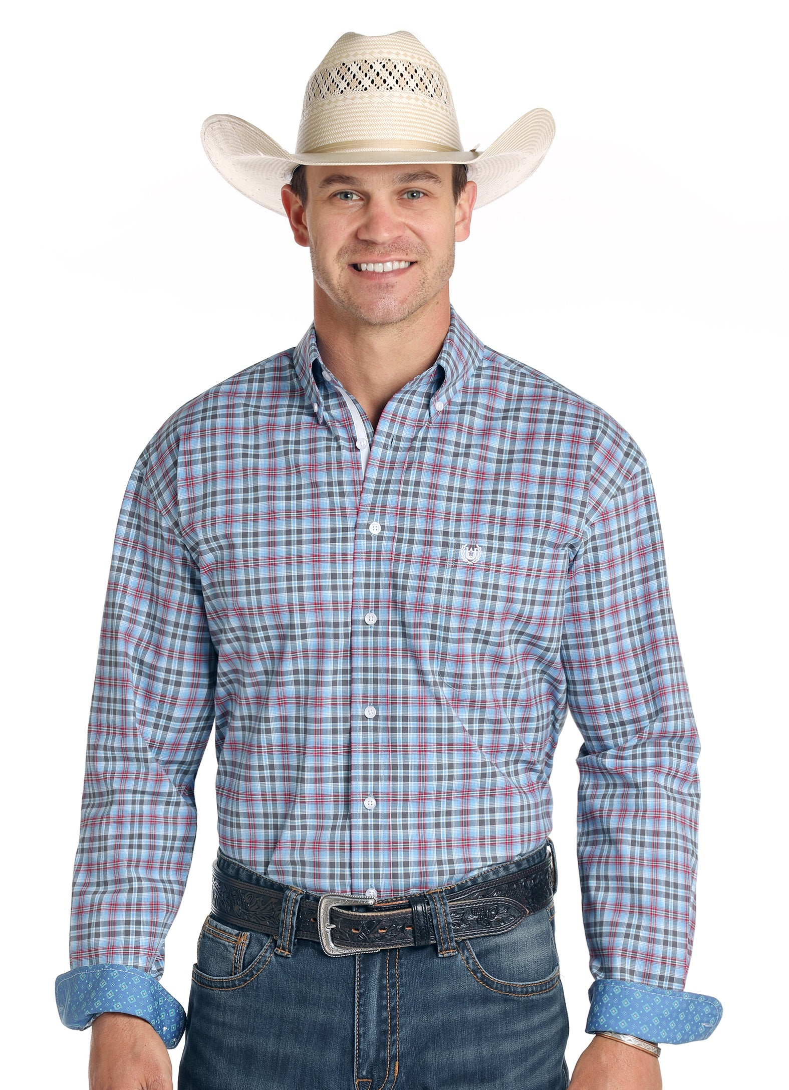Panhandle Rough Stock Long Sleeve Luge Ombre Plaid Button Up Shirt