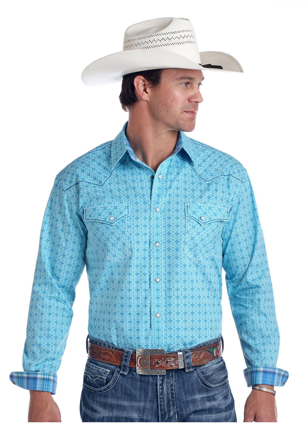 Panhandle Pearl Snap Long Sleeve Aqua Men's Button Down