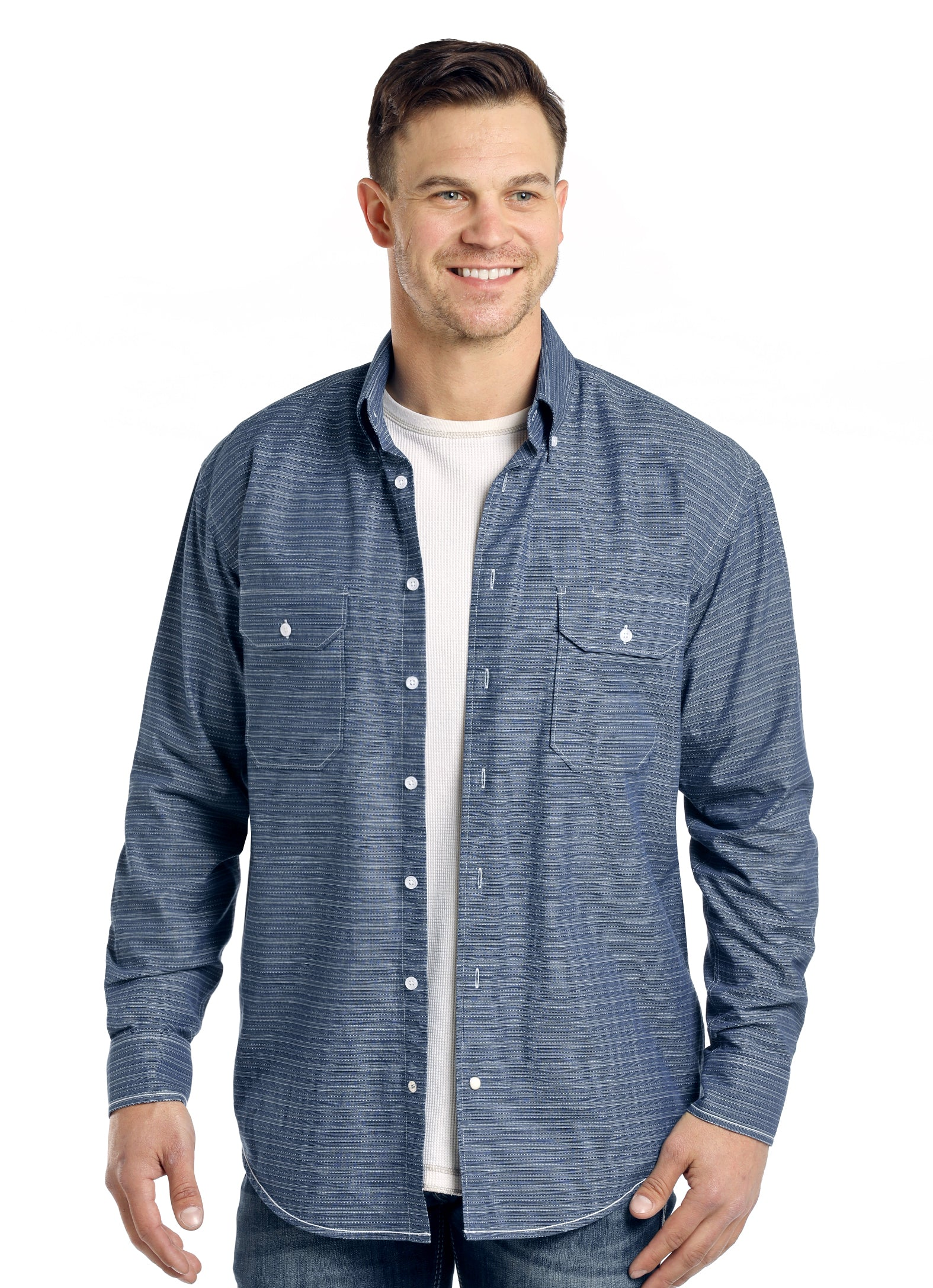 Panhandle Navy Blue and White Long Sleeve Button Down Shirt