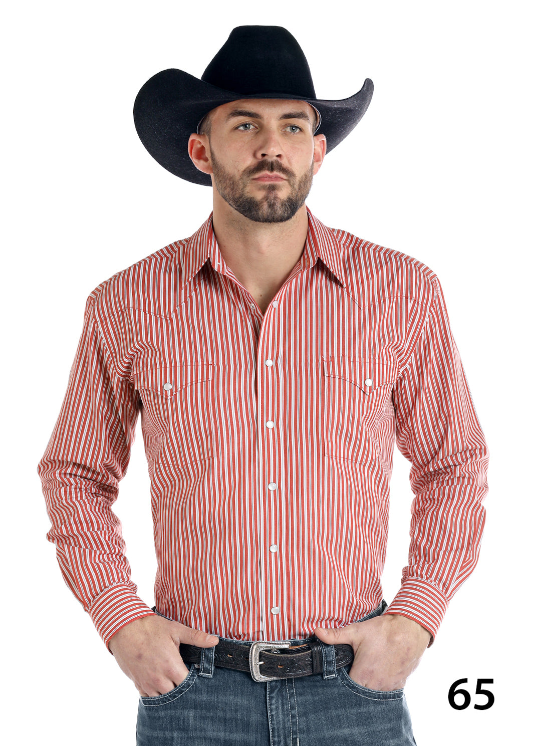 Panhandle Red Pinstripe Men's Pearl Snap