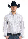 Panhandle Western Rough Stock White Long Sleeve Aztec Print Shirt