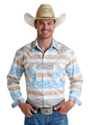 Panhandle Men's Rough Stock  Pearl Snap Long Sleeve Shirt