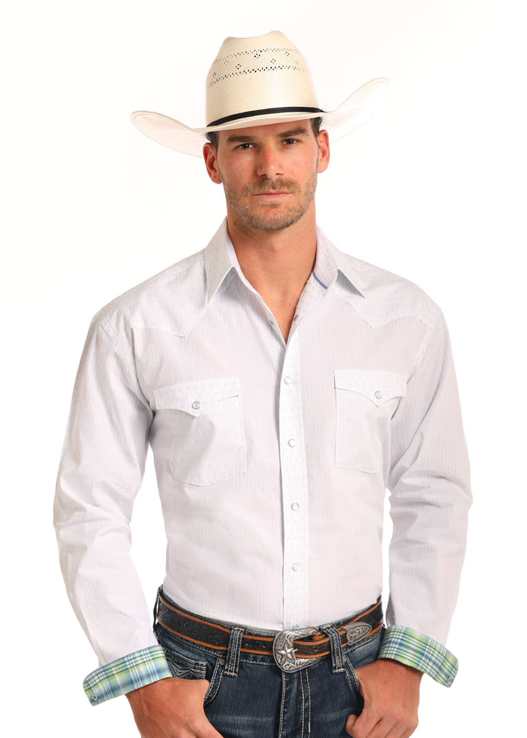 Panhandle Men's White and Key Lime Long Sleeve Pearl Snap Shirt