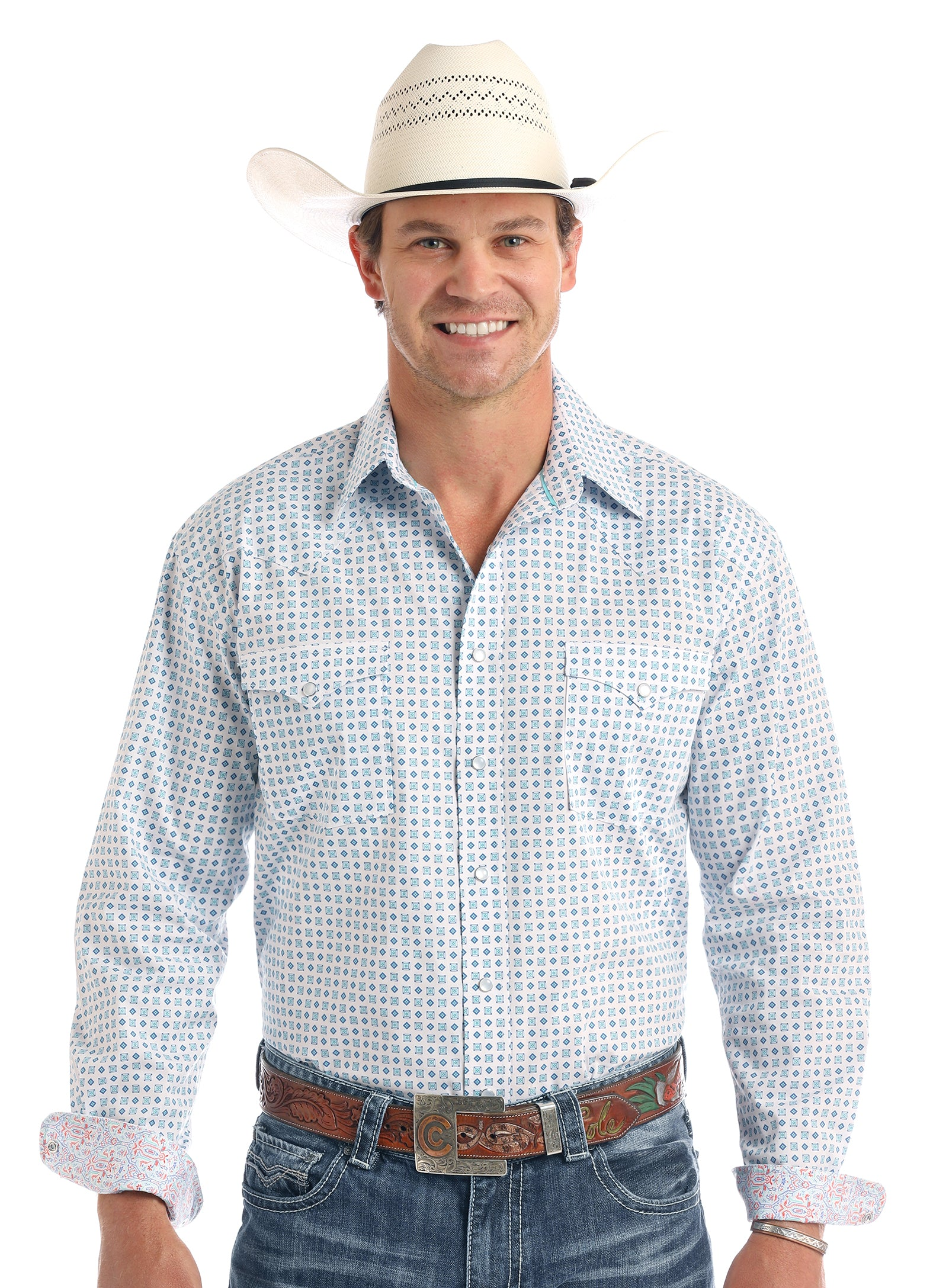 Panhandle Rough Stock Blue Dot Men's Snap Shirt