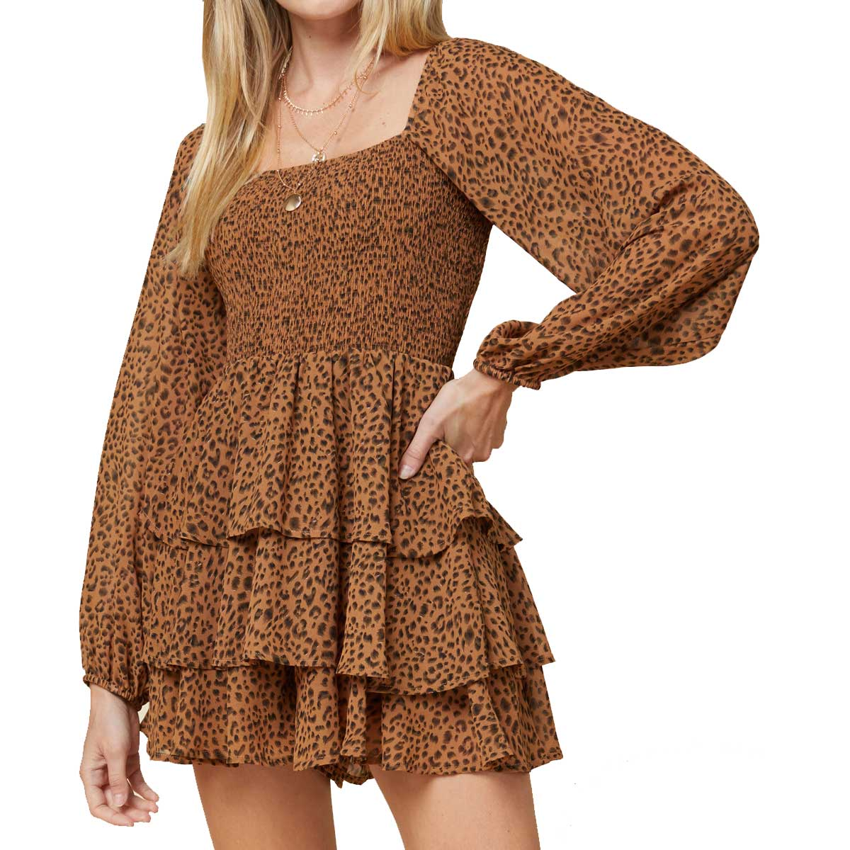 Entro Open Shoulder Ruffle Romper - Brown Leopard