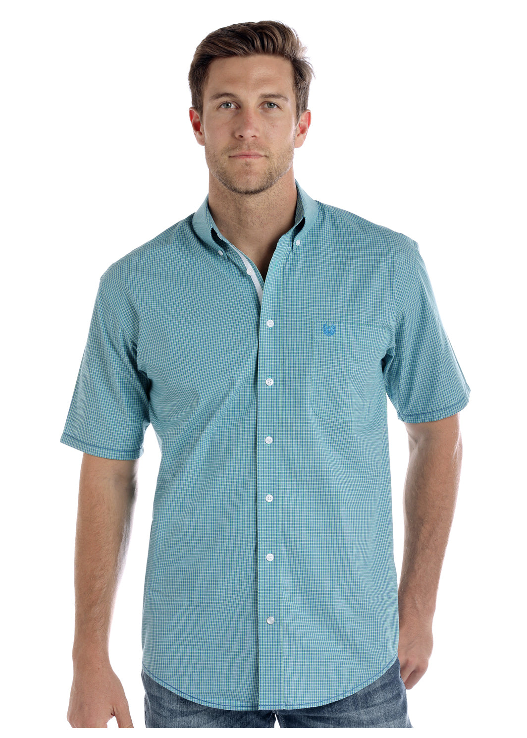 Panhandle Blue Plaid Men's Short Sleeve Shirt