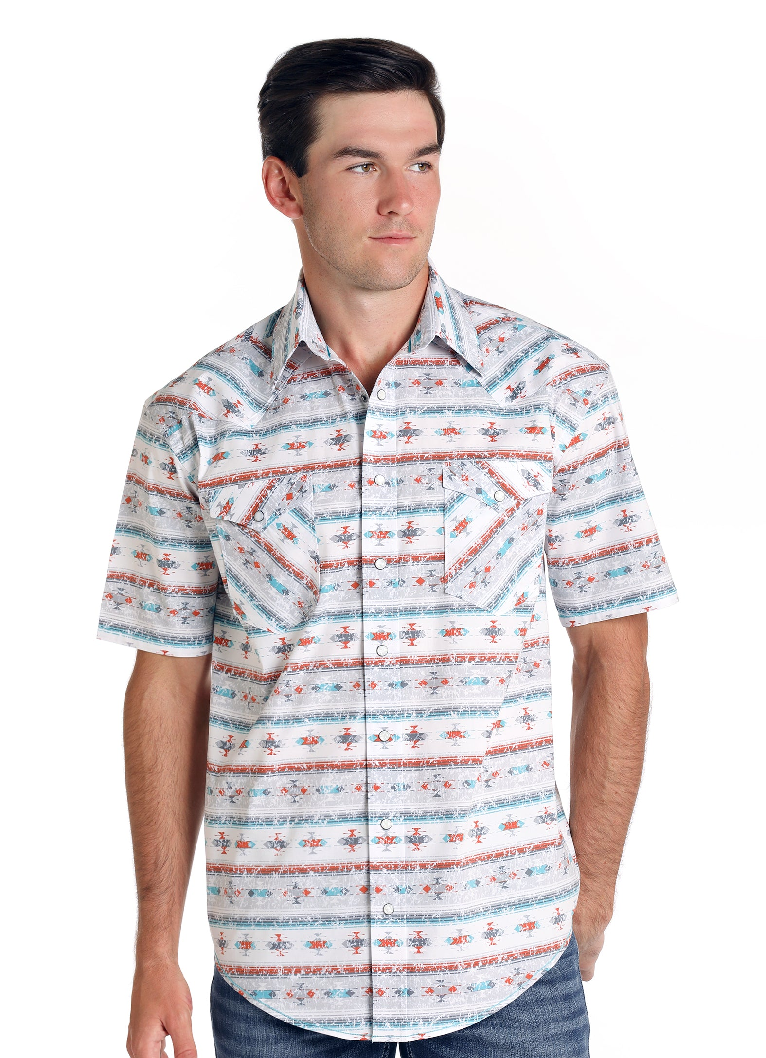 Panhandle Rough Stock Short Sleeve Del Lago Vintage Aztec Print