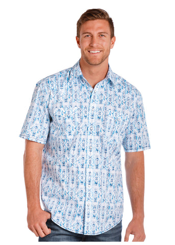 Men's Aztec Print SS Pearl Snap by Panhandle Slim