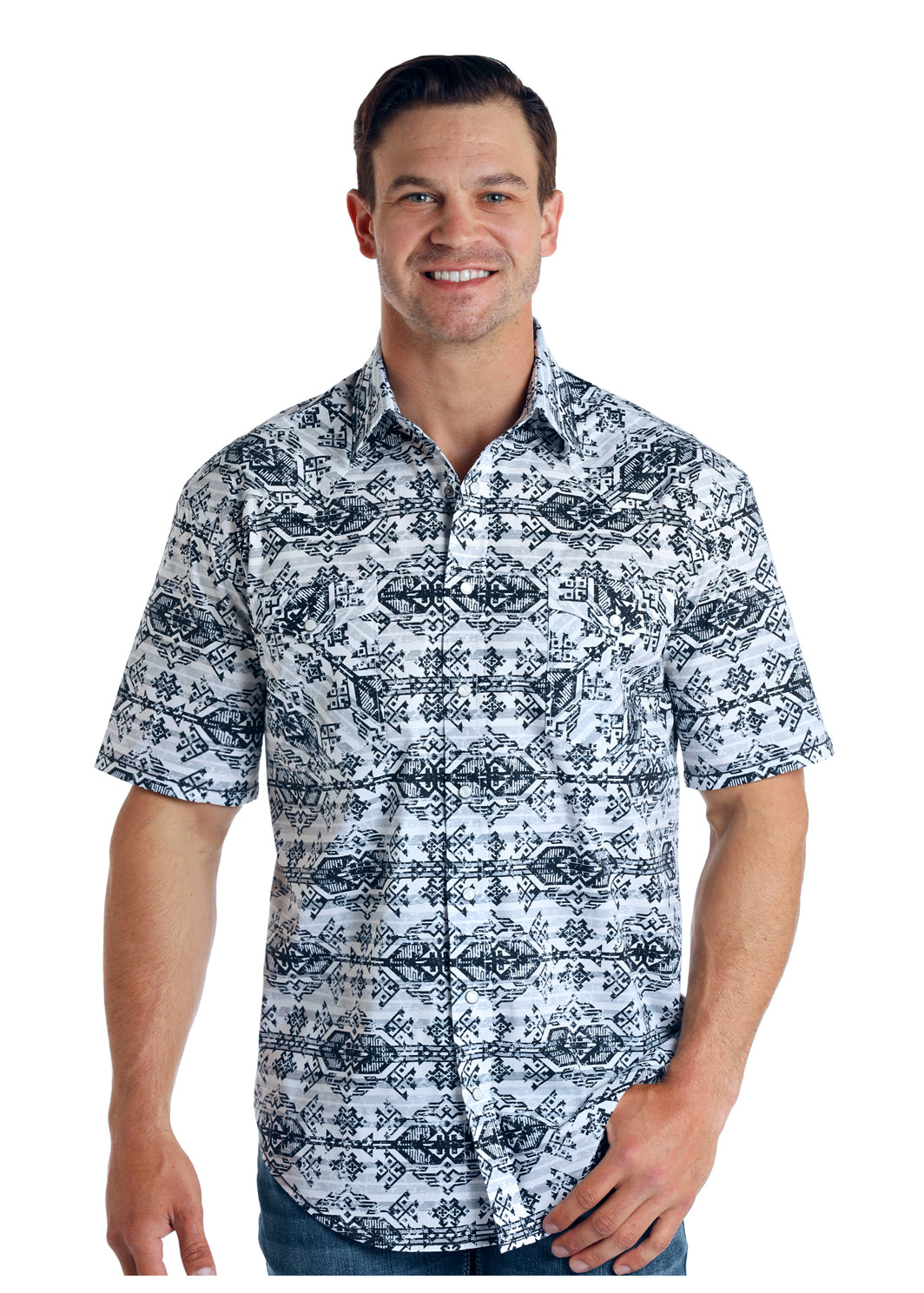 Panhandle Men's Stock Aztec Pearl Snap