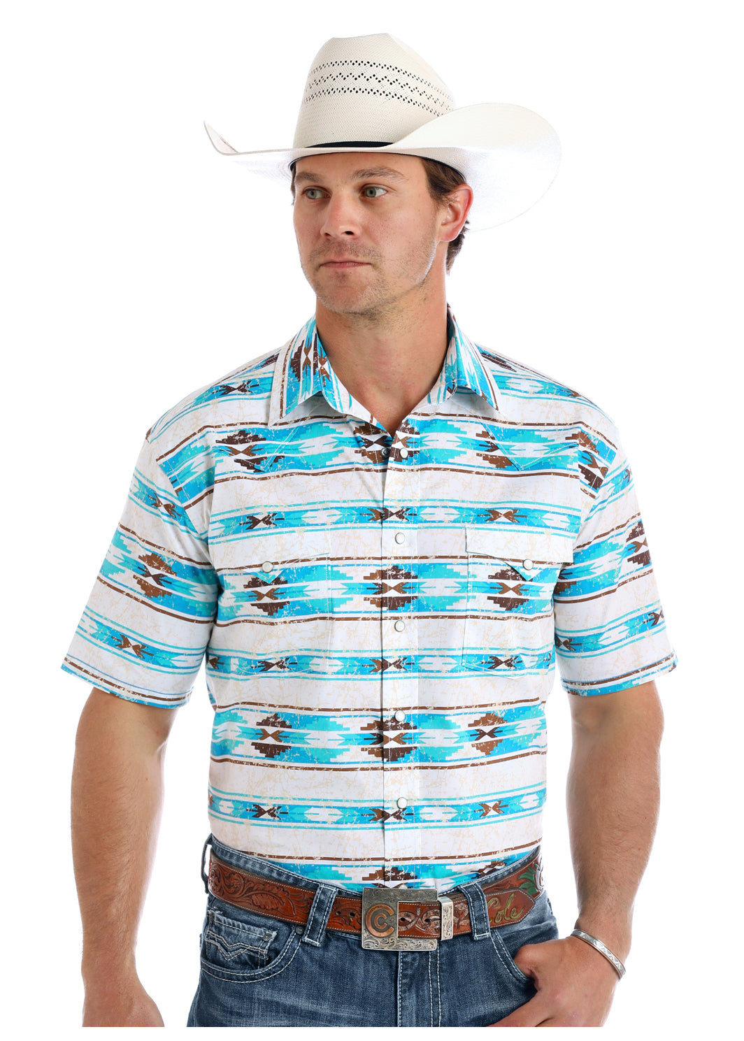 Panhandle Aztec Short Sleeve Men's Pearl Snap Shirt