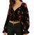 By Together Women's Velvet Burnout Long Sleeve Top - Black Red