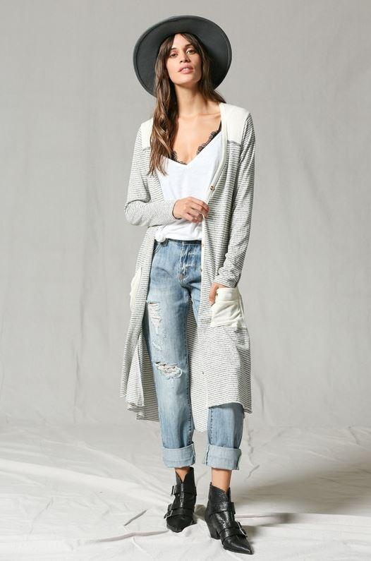 By Together Grey & Creme  Women's Duster