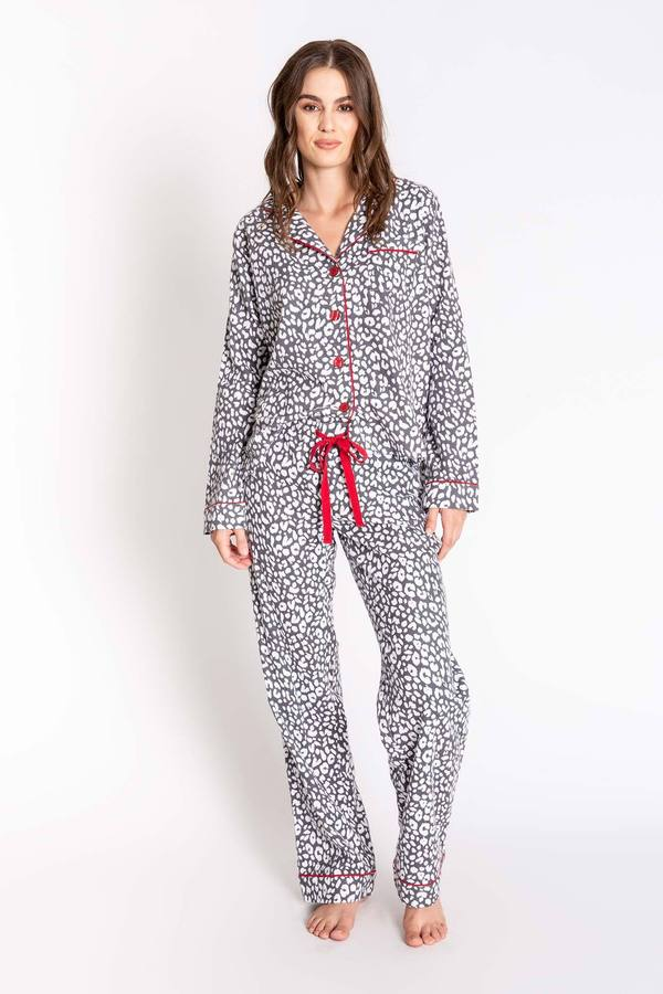 PJ Salvage Grey Chelsea Fit Women's Flannel Pajama Set