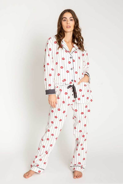 PJ Salvage Kisses Flannel Women's Pajama Set