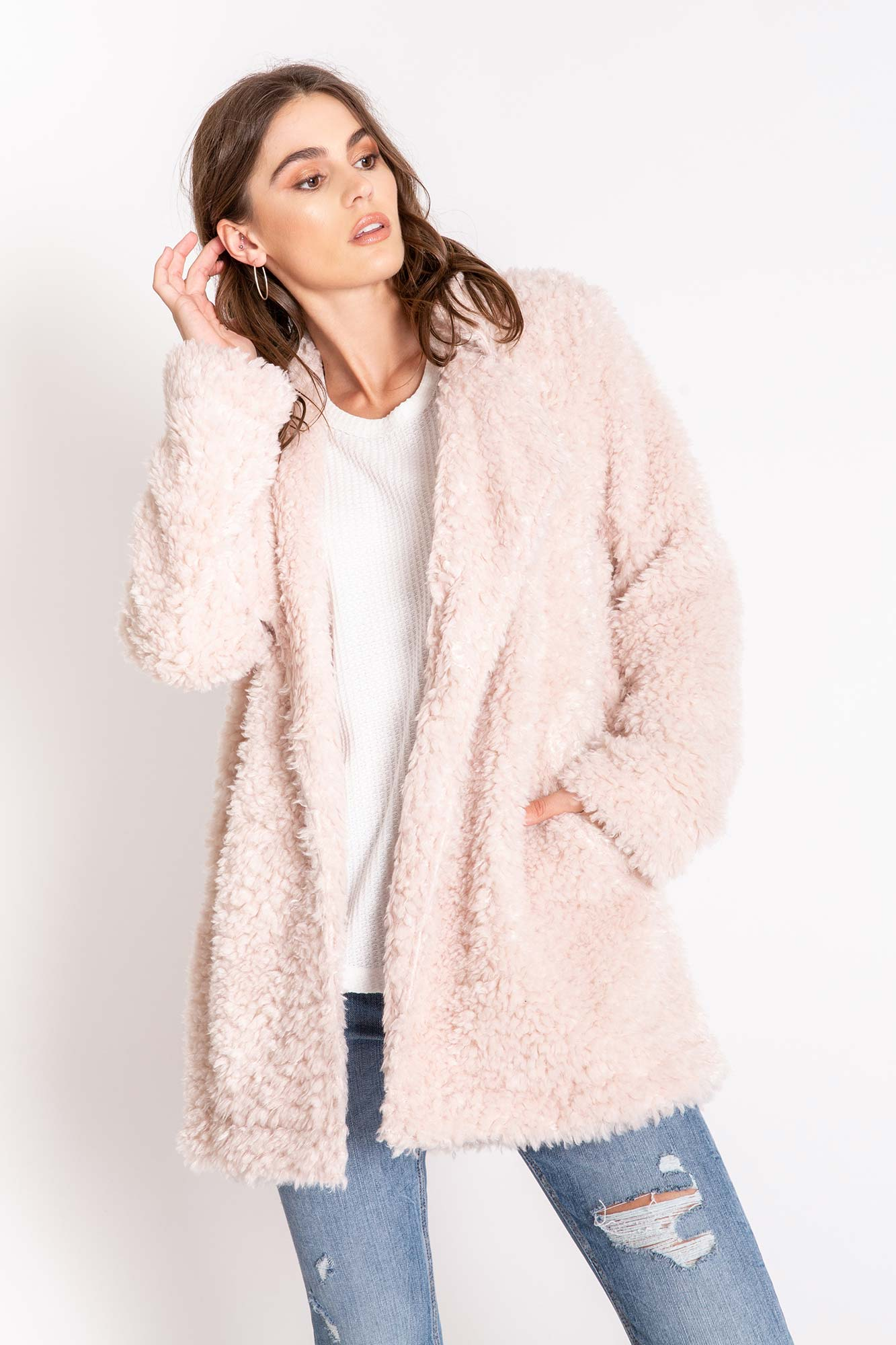PJ Salvage Dusty Rose Women's Sherpa Cardigan