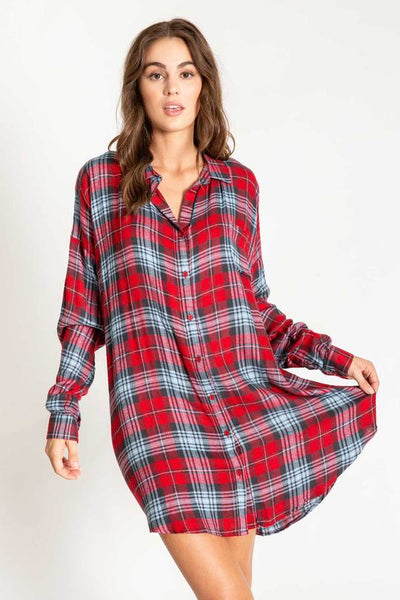 PJ Salvage Red Plaid Snowed In Women's Tunic