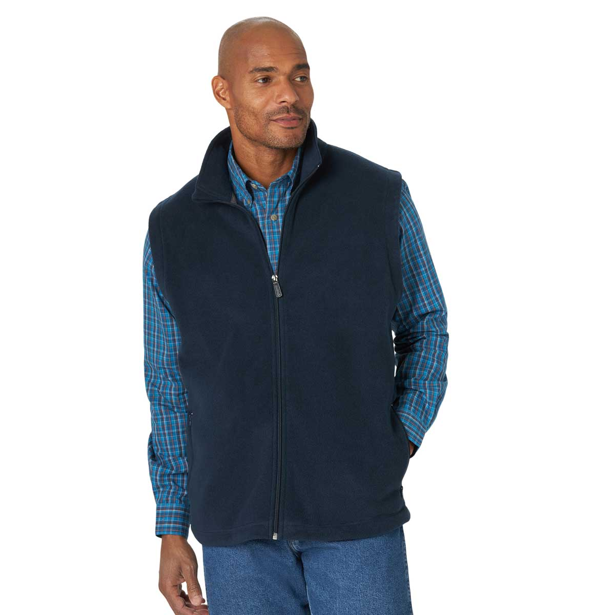 Wrangler Men's Rugged Wear Fleece Zip Up Vest - Dark Sapphire