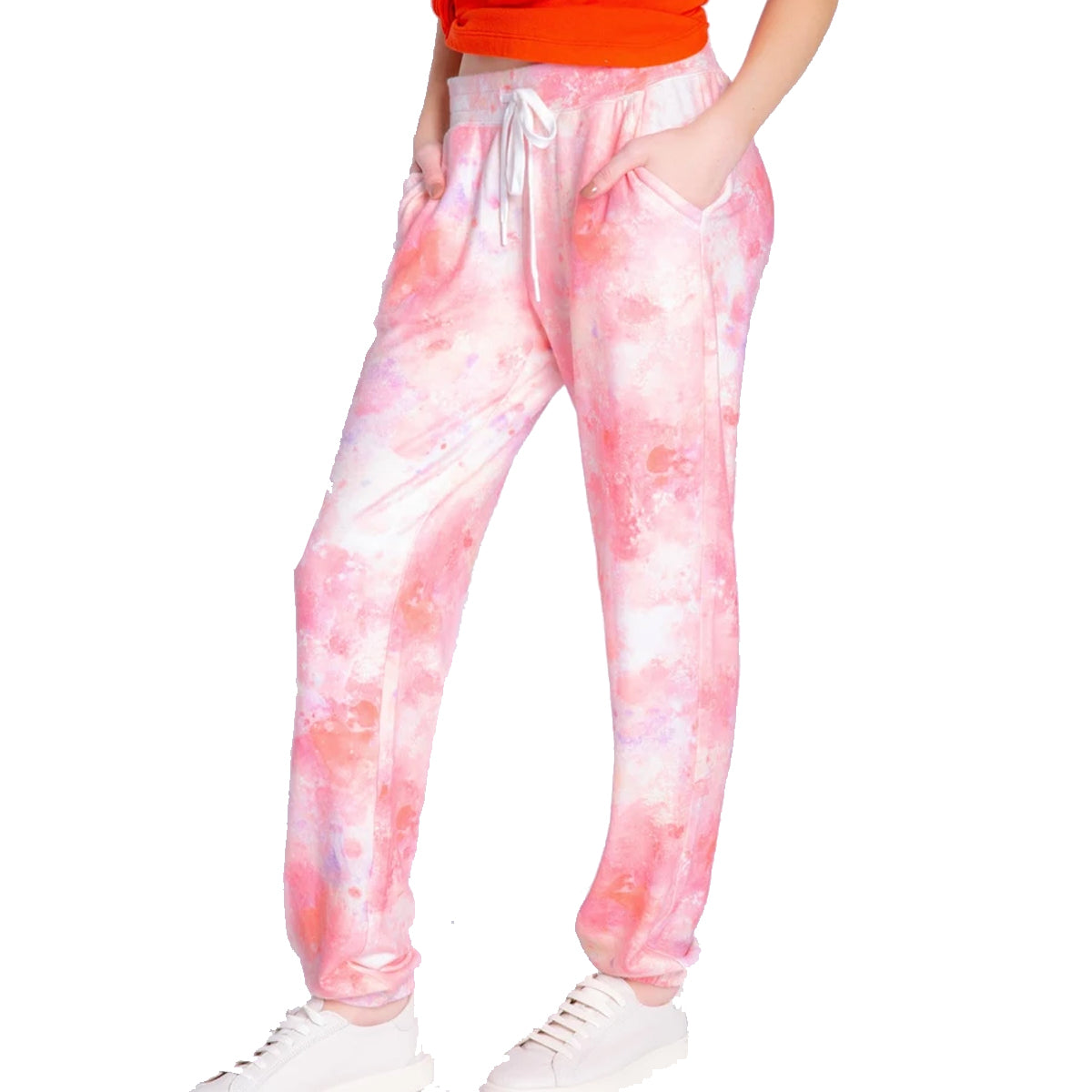 PJ Salvage Women's Melting Crayons Banded Pants - Coral