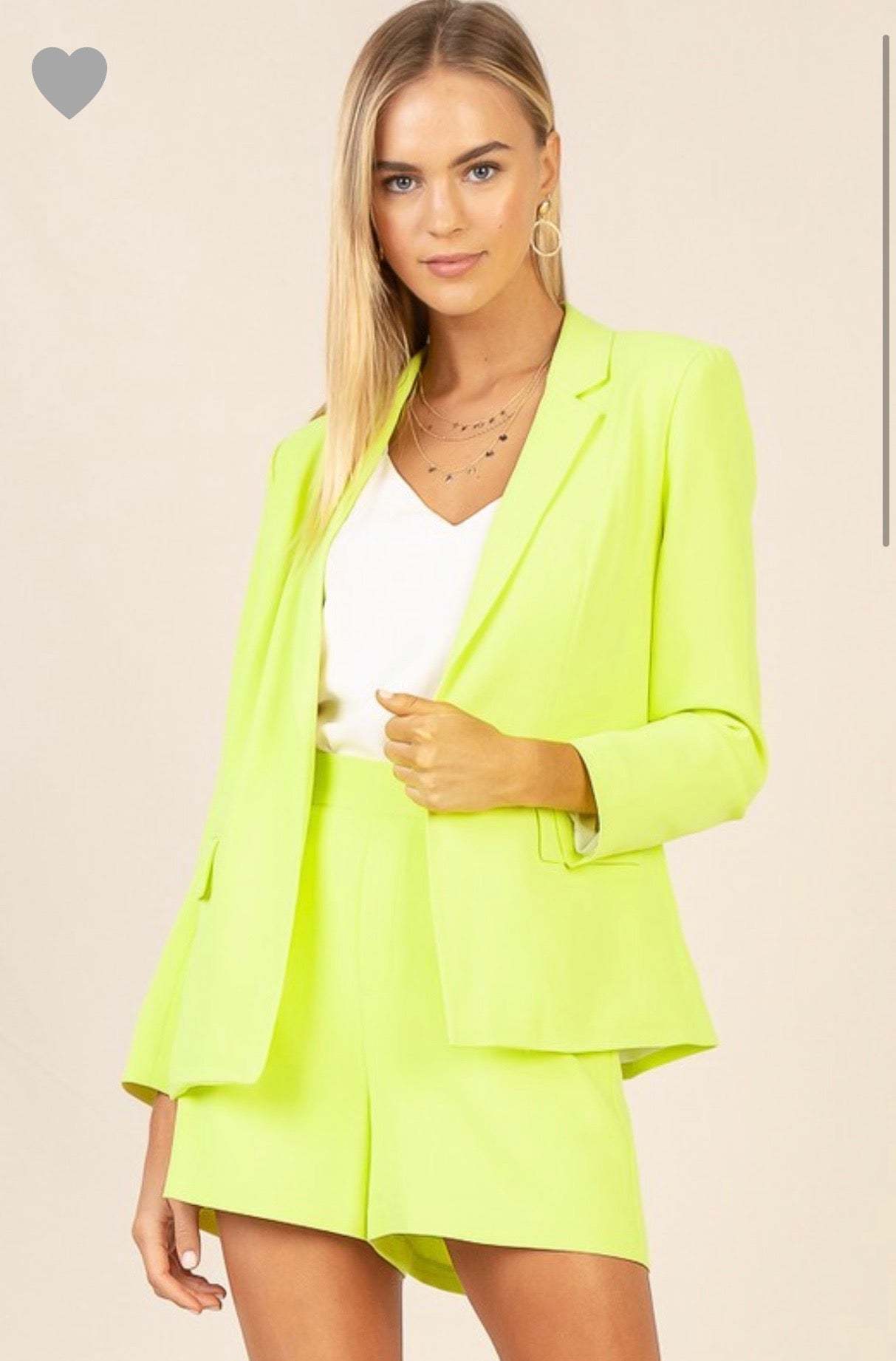 Neon Yellow Plain Front Short