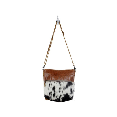 Myra Bag Engraved Leather Hair On Crossbody Bag