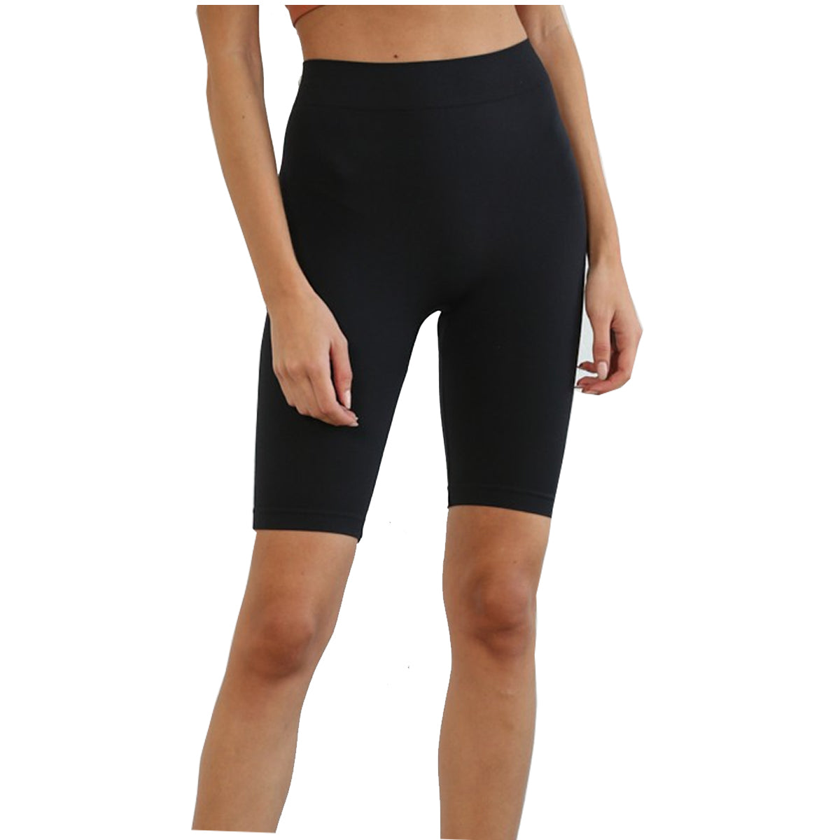 By Together Women's Seamless Above the Knee Biker Shorts - Black