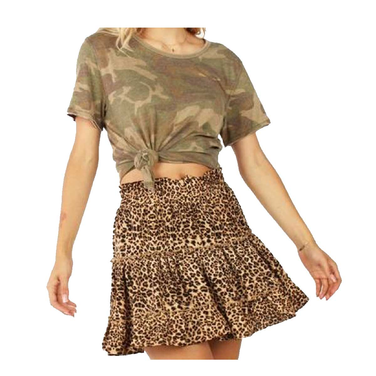 Entro Tiered Boutique Skirt - Leopard