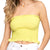 She + Sky Women's Basic Strapless Smocked Bandeau Tube Top - Lemon
