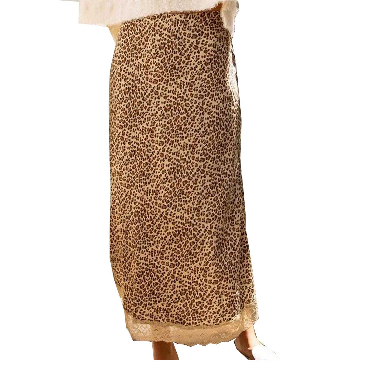 POL Clothing Women's Skirt - Gold Leopard