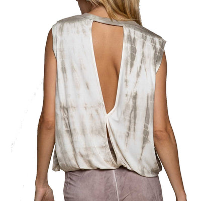 Pol Clothing Overlay Feminine with Splash Knit Tank Top - Taupe