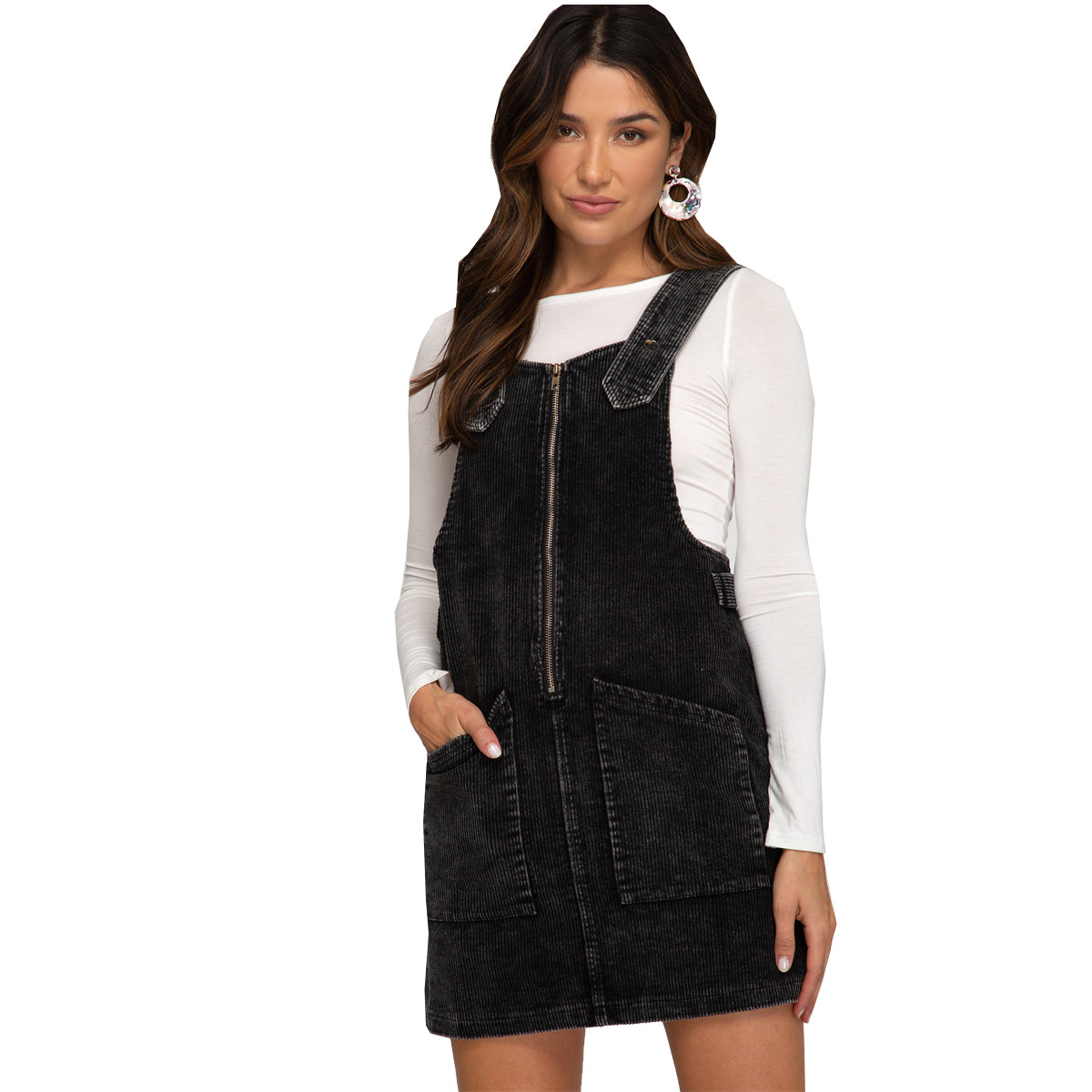 She and Sky Corduroy Washed Overalls Mini Dress - Black