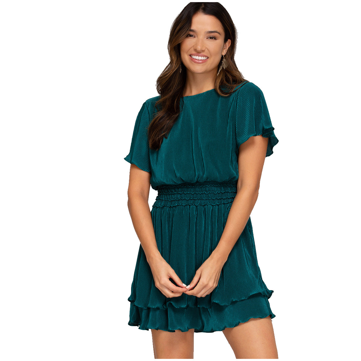 She and Sky Half Flutter Sleeve Pleated Woven Smocked Dress - Sea Green