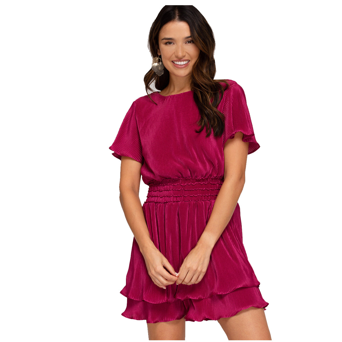 She and Sky Half Flutter Sleeve Pleated Woven Smocked Dress - Berry