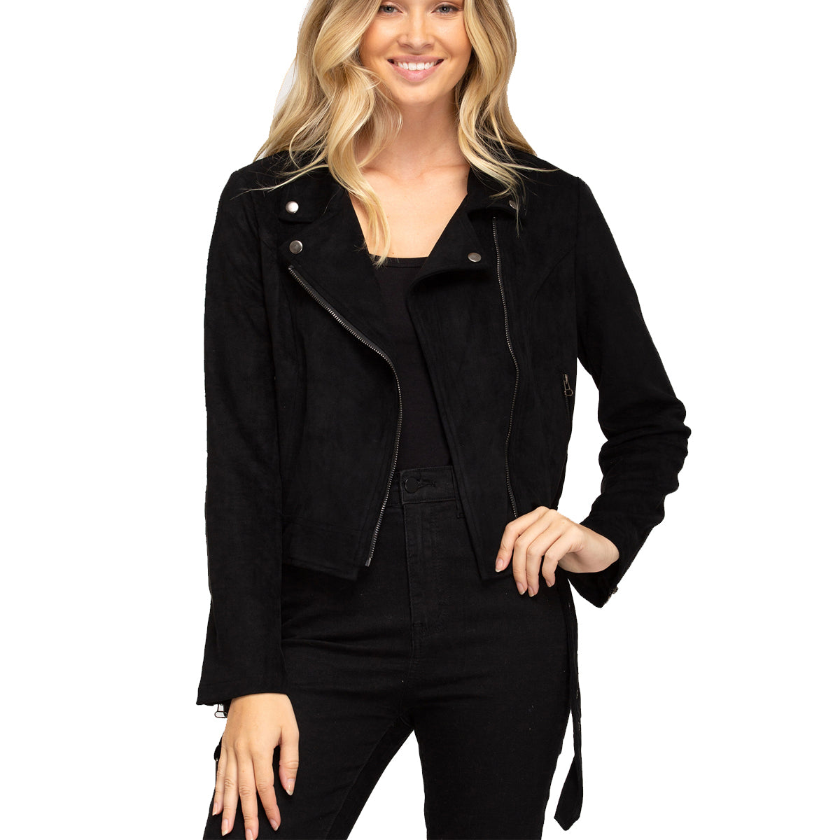 She and Sky Women's Faux Suede Rider Jacket with Belt - Black