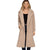 She + Sky Women's Midi Length Sherpa Coat - Light Mocha