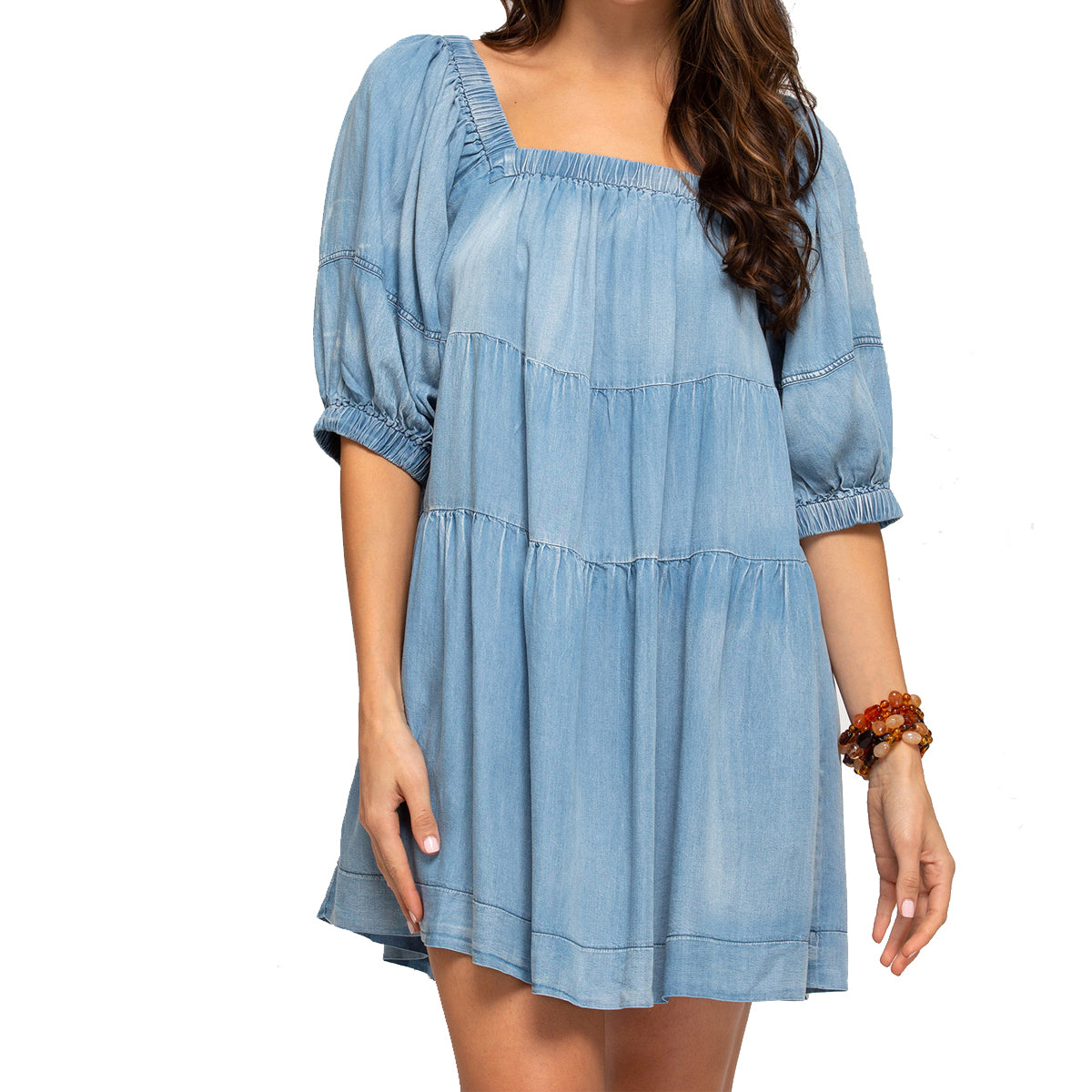 She + Sky Women's Half Sleeve Washed Denim Dress - Light Blue