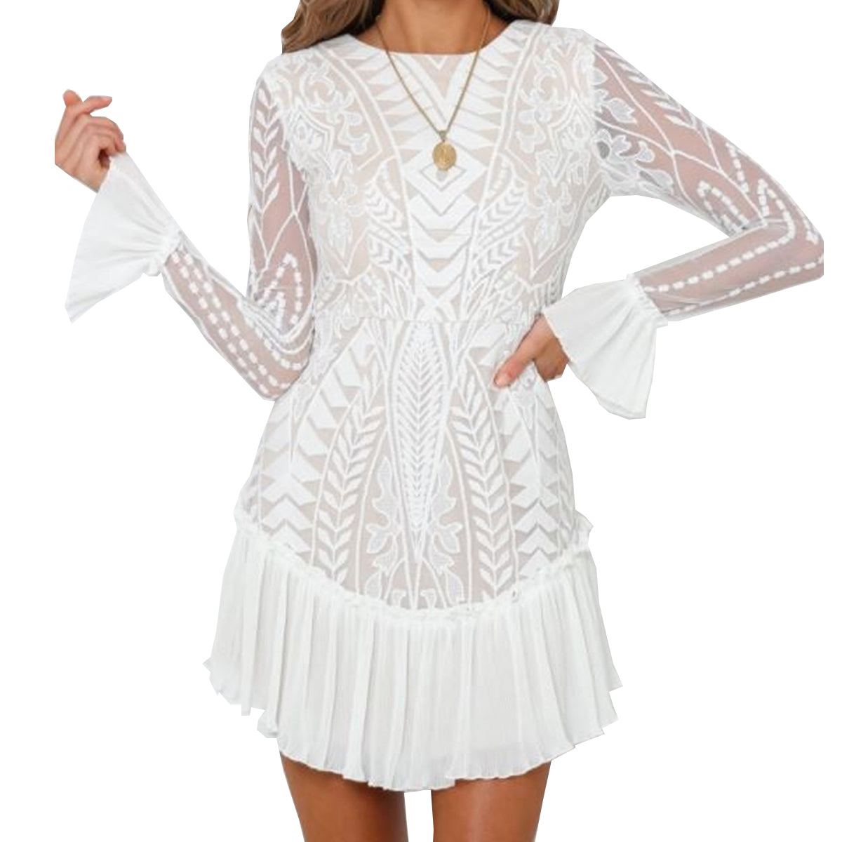 One and Only Collective Women's Lace Long Sleeve Mini Dress - White